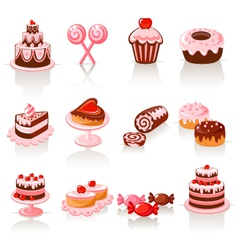 sweet pastry icons vector image vector image