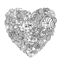 teddy bears and leverets for coloring book vector image