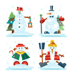 winter holidays snowman cheerful character in cold vector image vector image