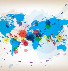 world map and watercolor vector image vector image