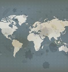 Antique world map and ink splatter vector