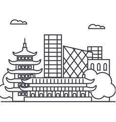 beijing china line icon sign vector image
