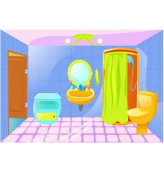 bright cartoon bathroom interior vector image