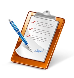 clipboard with pen vector image