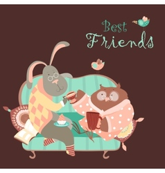 Rabbit and owl drink coffee on the couch vector image vector image