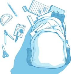 School Bag with School Supplies Scattered Around vector image vector image