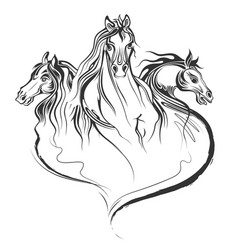 tattoo art design of horse racing in line art vector image vector image