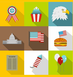 usa patriotic holiday icon set flat style vector image