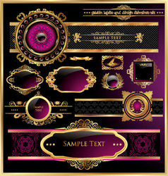 vintage black gold and pink frame label vector image vector image