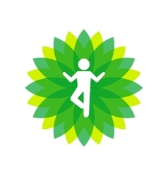 Yoga Lotus Green Icon with People Silhouette vector image