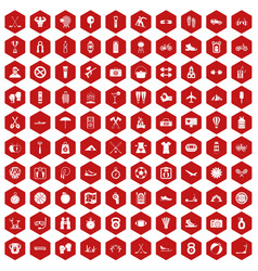 100 active life icons hexagon red vector image