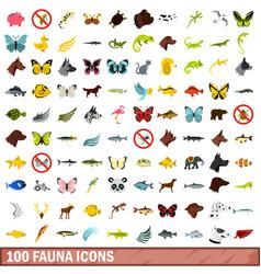 100 fauna icons set flat style vector image