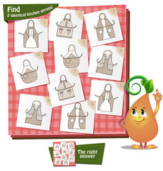 2 identical kitchen aprons vector