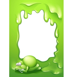 A border template with a green monster salivating vector image