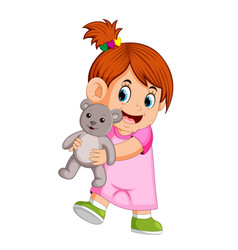 a girl happy playing with a gray teddy bear vector image