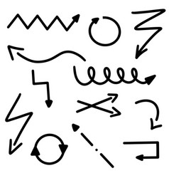 abstract black arrows set doodle hand made marker vector image