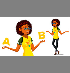 Afro american woman comparing a with b vector