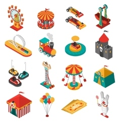 Amusement park isometric icons collection vector