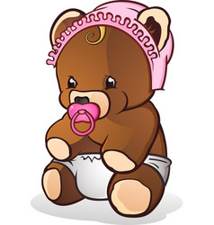 Baby teddy bear cartoon character vector