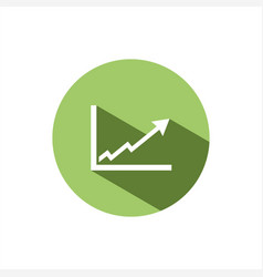 Benefits chart icon on green button vector