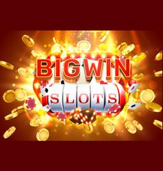 big win slots 777 banner casino frame light slots vector image