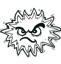 black and white angry freehand drawn cartoon vector image