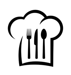 black restaurant icon with chef hat vector image