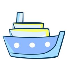 blue big ship on white background vector image