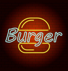 burger logo neon light icon realistic style vector image