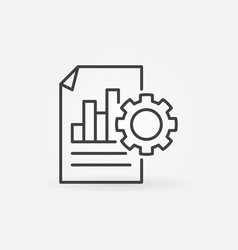 business report with gear icon in thin line vector image