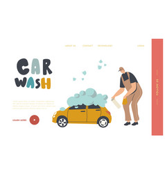 Car wash service on auto station landing page vector