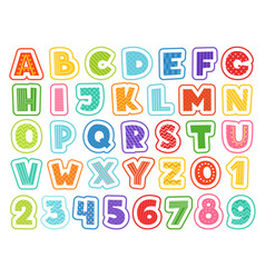 Cartoon alphabet cute colored letters numbers vector