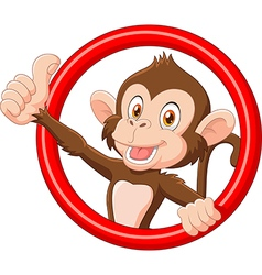 Cartoon funny monkey giving thumb up vector image