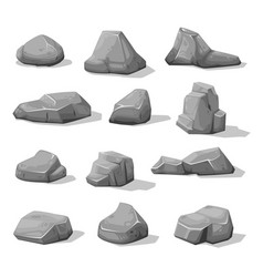 cartoon rock stones and boulders grey rubble vector image