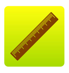 centimeter ruler sign brown icon at green vector image