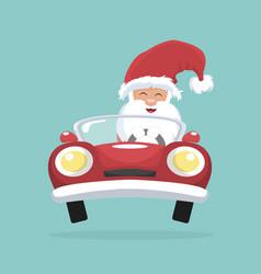 Christmas card of santa claus driving his car vector