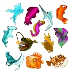 Collection tropical fishes isolated vector