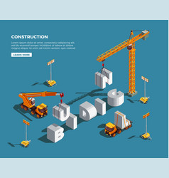 construction vehicles isometric composition vector image