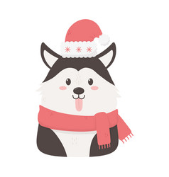 cute dog with hat scarf celebration happy vector image
