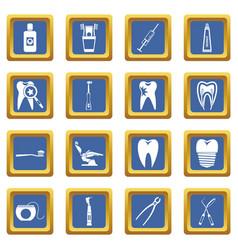 Dental care icons set blue vector