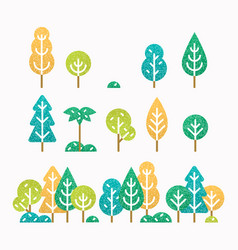 Different trees and bushes set vector