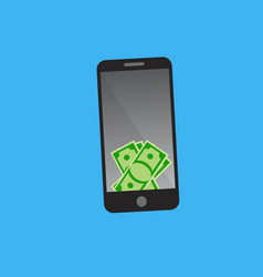 dollars on smart phone screen vector image