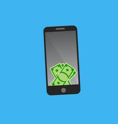 dollars on smart phone screen vector image