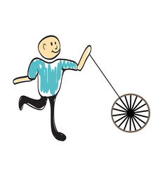 Driver with a wheel of the car vector
