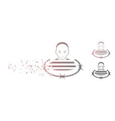 Dust pixel halftone barbed wire prisoner icon vector