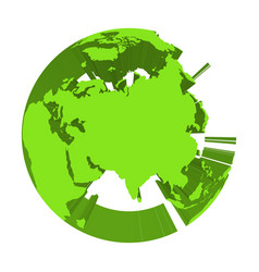 Earth globe model with green extruded lands vector