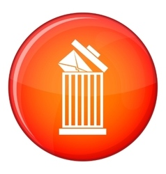 Envelope in trash bin icon flat style vector