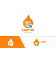 fire and click logo combination flame and vector image