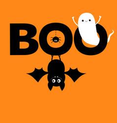 Flying ghost spirit hanging bat boo text vector