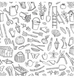 Gardening doodle icons background or vector